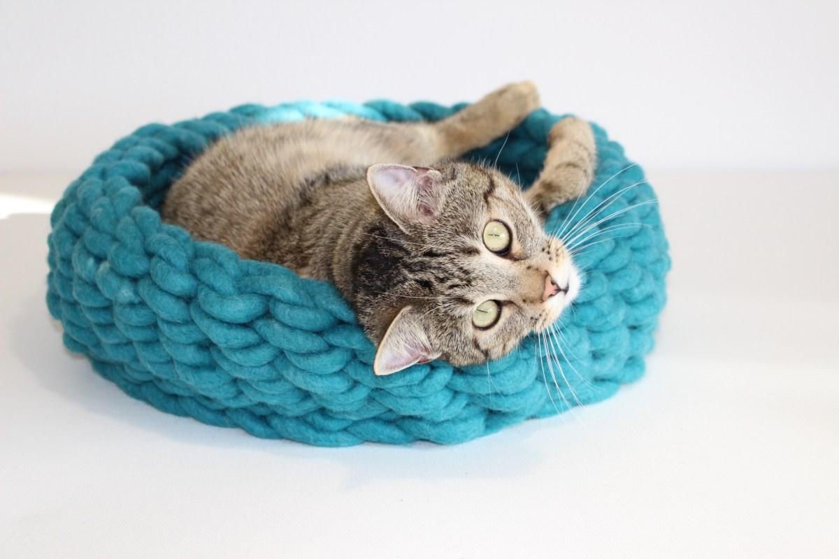 Katzenkorb aus Schafwolle