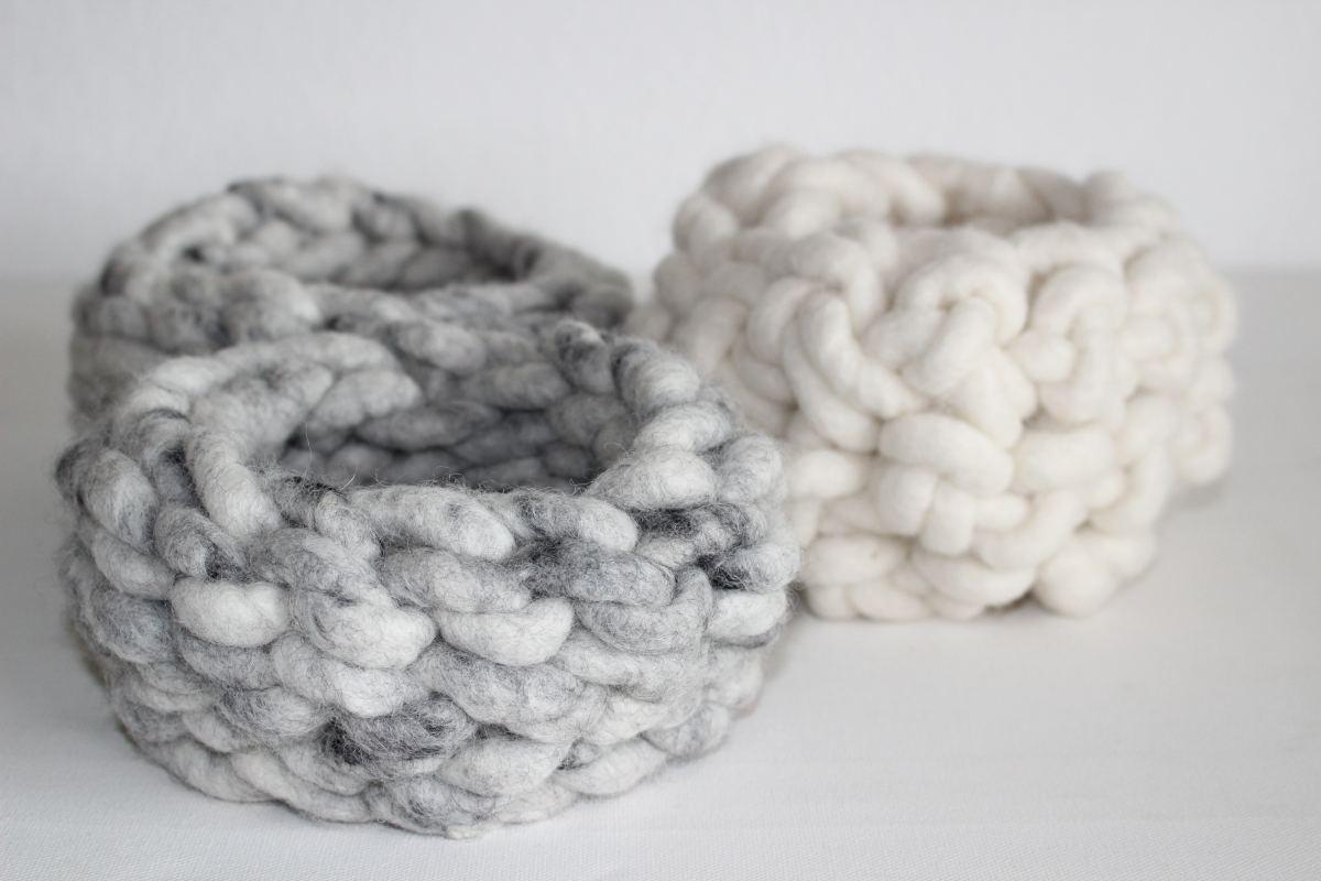 Wollkörbe aus Schafwollgarn